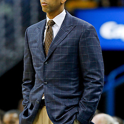 October 24, 2012; New Orleans, LA, USA; New Orleans Hornets head coach Monty Williams against the Houston Rockets during the first half of a preseason game at the New Orleans Arena. The Rockets defeated the Hornets 97-90. Mandatory Credit: Derick E. Hingle-US PRESSWIRE