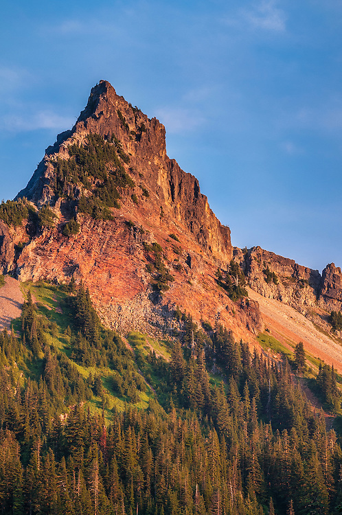 Pinnacle Peak in the Tatoosh Range at sunset; Mount Rainier National Park, Washington.