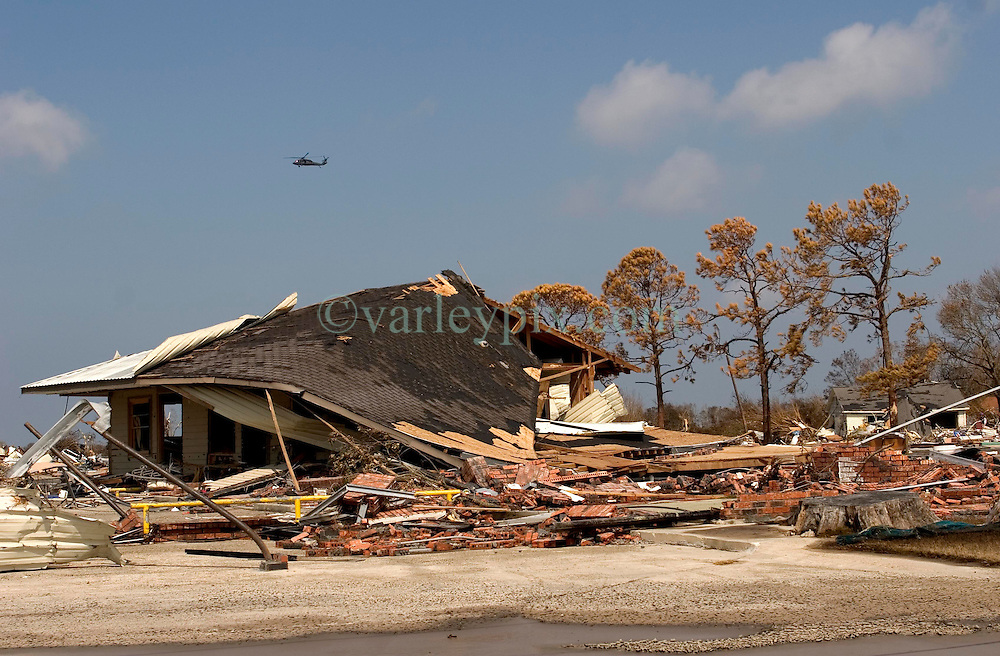 26th Sept, 2005. Cameron, Louisiana. Hurricane Rita aftermath. <br /> The destroyed remains of downtown residences in Cameron, Louisiana two days after the storm ravaged the small town. Concrete bases are all that remain of many of the houses.<br /> Photo; ©Charlie Varley/varleypix.com
