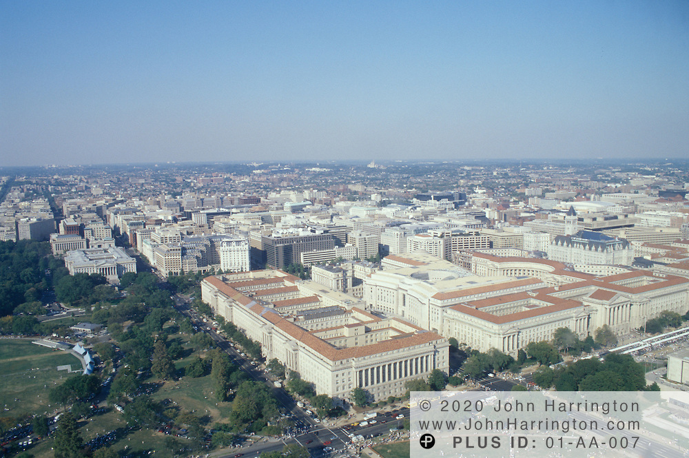Aerial veiw of the US Department of Commerce, Washington DC..