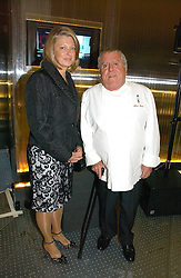 Top chef ALBERT ROUX and hIs wife  at a party to celebrate the launch of Pilsner Urquell beer held in the Pavillion at The Serpentine Gallery, London on 4th October 2006.<br /><br />NON EXCLUSIVE - WORLD RIGHTS