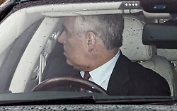© Licensed to London News Pictures. 14/01/2020. London, UK. PRINCE ANDREW, DUKE OF YORK is seen leaving Buckingham Palace in London. Yesterday Queen Elizabeth II held a summit meeting with senior members of the Royal family at Sandringham, following a recent announcement that Prince Harry and Megan, The Duke and Duchess of Sussex, will be stepping back from official Royal duty and spending more time abroad. Photo credit: Ben Cawthra/LNP