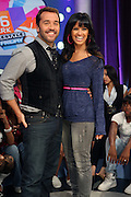 l to r:  Jeremy Pivens and Rosci at BET's 106 & Park promotion of Jeremy Pivens' new film ' The Goods' on August 6, 2009 in New York City