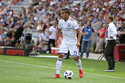 April 29, 2018 - Commerce City, Colorado - Orlando City SC defender Mohamed El-Monir (13) looks for a pass in the first half of action in the MLS soccer game between Orlando City SC and the Colorado Rapids at Dick's Sporting Goods Park in Commerce City, Colorado (Credit Image: © Carl Auer via ZUMA Wire)