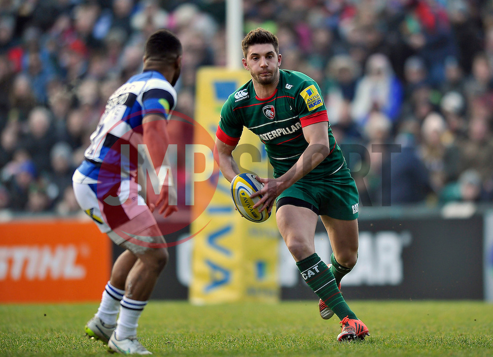 Owen Williams of Leicester Tigers in possession - Photo mandatory by-line: Patrick Khachfe/JMP - Mobile: 07966 386802 04/01/2015 - SPORT - RUGBY UNION - Leicester - Welford Road - Leicester Tigers v Bath Rugby - Aviva Premiership