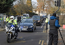 © Licensed to London News Pictures. 03/12/2019. London, UK. A motorcade leaving Winfield House in Regents Park, London, where President Donald Trump is staying during the NATO leaders summit. Worlds leaders are due to attend a series of events over a two day NATO summit which will mark the 70th anniversary of the alliance of nations. Photo credit: Ben Cawthra/LNP