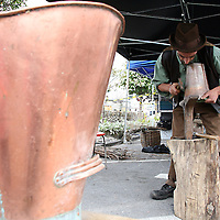 Mark Wilson copper smithing at the 2007 Scariff Harbour Festival over the weekend.<br />