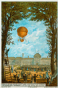 First manned flight  in a hydrogen-filled balloon made by Jacques Charles and Nicolas-Louis Robert from the Tuileries, Paris, France, 1 December 1783. Travelled 36km in 2 hours 5 minutes. Aeronautics Aviation Ballooning Flying