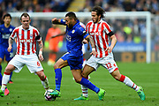Stoke City midfielder Ramadan (32) puts pressure on Leicester City defender Danny Simpson (17) during the Premier League match between Leicester City and Stoke City at the King Power Stadium, Leicester, England on 1 April 2017. Photo by Jon Hobley.