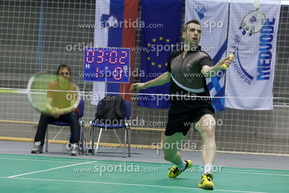 Iztok Utrosa of Slovenia during Slovenia Open Badminton tournament 2012, on May 11, 2012, in Medvode, Slovenia. (Photo by Grega Valancic / Sportida.com)