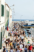 03 August 2017, Capri Italy - Thousands of tourists arrive at the port of Marina Grande in Capri island.
