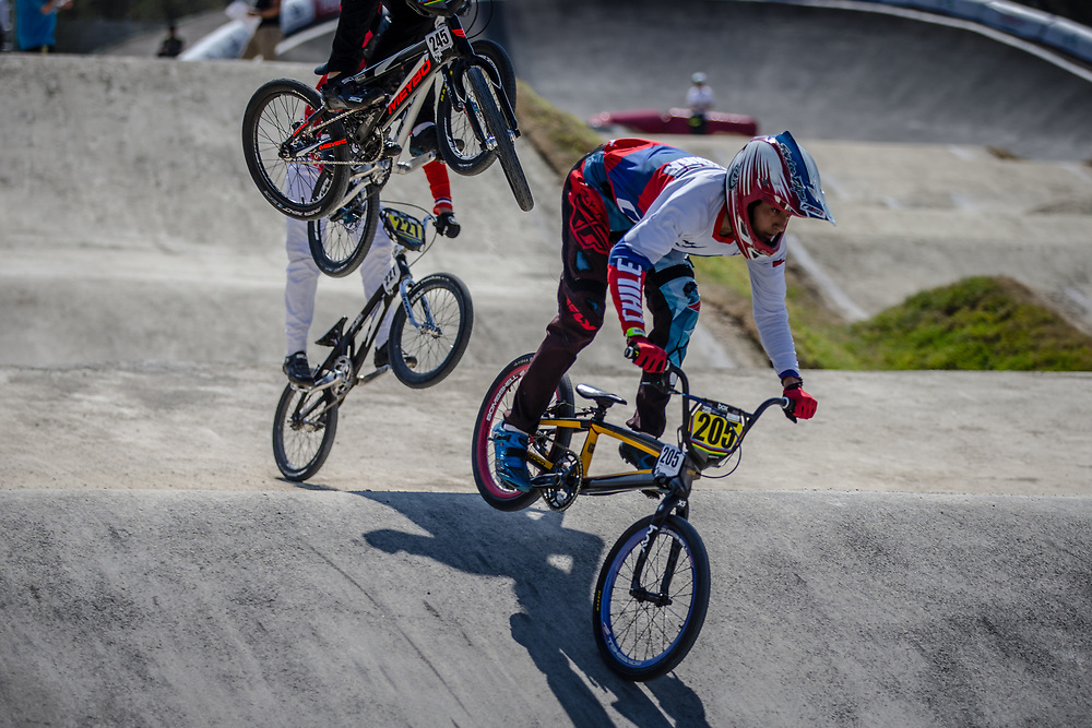 16 Boys #205 (VERGARA Benjamin) CHI at the 2018 UCI BMX World Championships in Baku, Azerbaijan.
