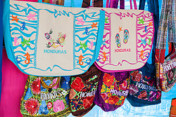 Colorful souvenir bags in Honduras.