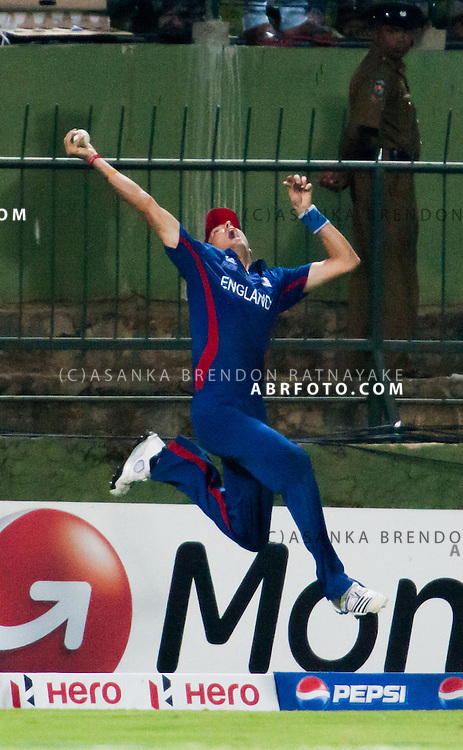 Englishmen Steve Finn takes a one handed catch mid air but went over the boundary line during the T20 Cricket World super 8's match between England Vs Sri Lanka at the Pallekele International Stadium Cricket Stadium, Pallekele. Photo credit : Asanka Brendon Ratnayake