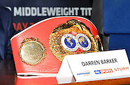 Picture by Alan Stanford/Focus Images Ltd +44 7915 056117<br /> 10/10/2013<br /> Darren Barker's world title belt pictured during a press conference at Trinity House, London.