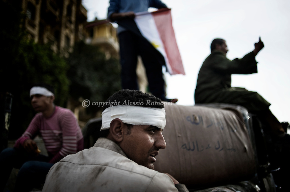 Wounded protestors anti-government in Tahrir square in Cairo on February 04, 2010.© ALESSIO ROMENZI
