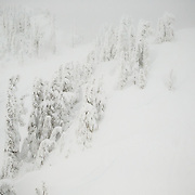 A group of unidentified skiers removes skins on the top of Mount Herman in the Cascades of Washington in winter.