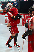 Graz, Austria - 2017 March 23: (L) Marcin Kowalski holds his teammate Jakub Smorczewski both from SO Poland and celebrate their victory in Third Place Floor Hockey Match SO Poland against SO St. Lucia while Special Olympics World Winter Games Austria 2017 at Convention Centre Messe Graz on March 23, 2017 in Graz, Austria.<br /> <br /> Mandatory credit:<br /> Photo by &copy; Adam Nurkiewicz / Mediasport<br /> <br /> Adam Nurkiewicz declares that he has no rights to the image of people at the photographs of his authorship.<br /> <br /> Picture also available in RAW (NEF) or TIFF format on special request.<br /> <br /> Any editorial, commercial or promotional use requires written permission from the author of image.<br /> <br /> Image can be used in the press when the method of use and the signature does not hurt people on the picture.