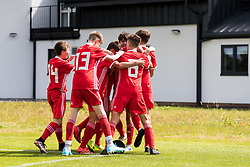 WREXHAM, WALES - Thursday, August 15, 2019: Wales players celebrate the opening goal during the UEFA Under-15's Development Tournament match between Wales and Northern Ireland at Colliers Park. (Pic by Paul Greenwood/Propaganda)