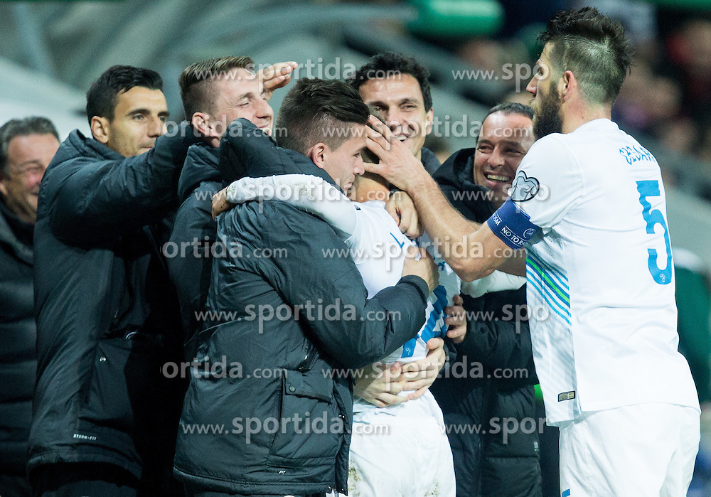 Dejan Lazarevic of Slovenia, Bostjan Cesar of Slovenia celebrate after fifth goal for Slovenia during football match between NationalTeams of Slovenia and San Marino in Round 5 of EURO 2016 Qualifications, on March 27, 2015 in SRC Stozice, Ljubljana, Slovenia. Photo by Vid Ponikvar / Sportida