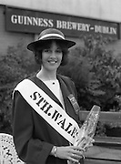Roses of Tralee at Guinness Brewery..1986.20.08.1986..08.20.1986..20th August 1986..As part of the 50th running of the Rose Of Tralee Festival the thirty Rose contestants were invited to The Guinness Brewery,St James's Gate,Dublin. At the reception in their honour, Mr Pat Healy,Sales Director,Guinness Group Sales,welcomed the roses at the Guinness Reception Centre..Extra: Ms Noreen Cassidy,representing Leeds,went on to win the title of 'Rose Of Tralee'...The South Wales Rose poses for pictures at the Guinness reception.