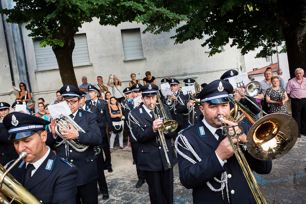 SANT'AGATA DE GOTI, ITALY - 23 JULY 2014: The marching band of the Italian Penitentiary Police palys the American anthem after Mayor of New York Bill De Blasio's speech in Sant'Agata de Goti, his ancestral home town in Italy, on July 23rd 2014.<br /> <br /> New York City Mayor Bill de Blasio arrived in Italy with his family Sunday morning for an 8-day summer vacation that includes meetings with government officials and sightseeing in his ancestral homeland.