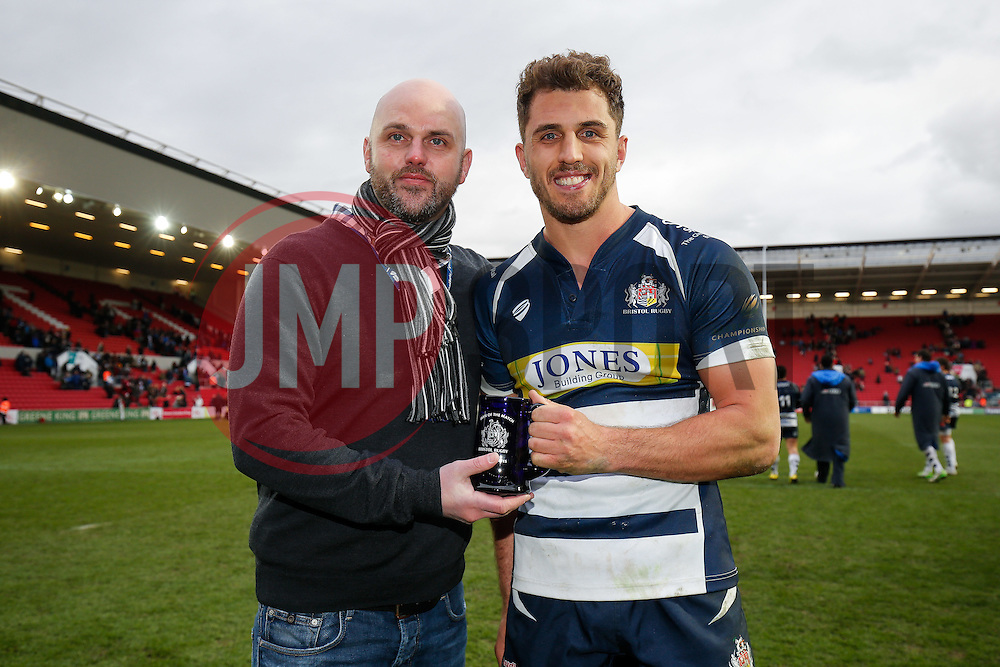 Man of the match presentation to Bristol Rugby Full Back Jack Wallace - Mandatory byline: Rogan Thomson/JMP - 06/03/2016 - RUGBY UNION - Ashton Gate Stadium - Bristol, England - Bristol Rugby v Cornish Pirates - Greene King IPA Championship.