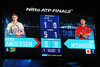 Tennis - 2018 Nitto ATP Finals at The O2 - Day Two<br /> <br /> Mens singles : Kevin Anderson (RSA) v Kei Nishikori (JPN)<br /> <br /> The score board shows almost a compete white wash with the score finally ending 6-0 6-1<br /> <br /> COLORSPORT/ANDREW COWIE