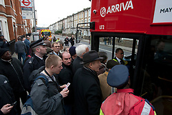 © licensed to London News Pictures. London, UK 27/02/2012. People queuing to get on the new Routemaster bus. London's newly designed hop-on, hop-off double decker bus services begin today 27th February 2012 as the first bus leaves Hackney Bus Garage this morning. Photo credit: Tolga Akmen/LNP