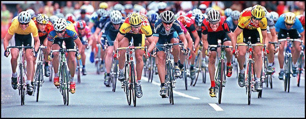 5/23/99.  ATLANTIC CUP BIKE RACE AROUND HARVARD.  A SPRINT TO THE FINISH, MARK MCCORMACK OF THE SATURN TEAM, SECOND FROM RIGHT, IN YELLOW AND RED JERSEY, OUT SPRINTS THE FIELD TO TAKE FIRST IN THE RACE.  STAFF PHOTO BY MICHAEL SEAMANS SAVED IN PHOTO 6