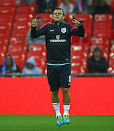 Picture by John Rainford/Focus Images Ltd +44 7506 538356<br /> 14/08/2013<br /> Jack Wilshere of England warms up before the International Friendly match at Wembley Stadium, London.