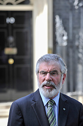 © Licensed to London News Pictures. 15/06/2017. London, UK. (L to R) Gerry Adams, President Sinn Féin, in a press conference outside Number 10.  Members of the Northern Ireland Assembly visit Downing Street for talks with Prime Minister Theresa May following the results of the General Election.  The Conservatives are seeking to work with the Democratic Unionist Party in order to form a minority government. Photo credit : Stephen Chung/LNP