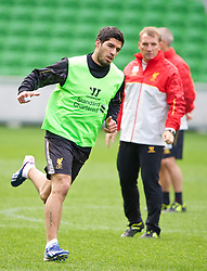 MELBOURNE, AUSTRALIA - Monday, July 22, 2013: Liverpool's Luis Suarez and manager Brendan Rodgers during a training session at Aami Park ahead of their preseason friendly against Melbourne Victory. (Pic by David Rawcliffe/Propaganda)
