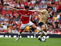 Photo: Richard Lane/Richard Lane Photography. Arsenal v Juventus. Emirates Cup. 02/08/2008. Arsenal's Samir Nasri  challenges Juventus' Mauro Camoranesi.