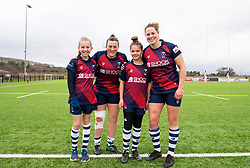 Clara Nielson and Amber Reed of Bristol Bears Women pose with mascots - Mandatory by-line: Paul Knight/JMP - 11/01/2020 - RUGBY - Shaftesbury Park - Bristol, England - Bristol Bears Women v Firwood Waterloo Women - Tyrrells Premier 15s