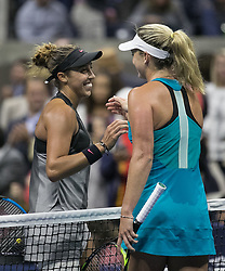 September 7, 2017 - Flushing Meadows, New York, U.S - Madison Keys shakes hands with CoCo Vandeweghe after winning her match on Day Eleven of the 2017 US Open at the USTA Billie Jean King National Tennis Center on Thursday September 7, 2017 in the Flushing neighborhood of the Queens borough of New York City.  Keys defeats Vandeweghe, 6-1, 6-2. (Credit Image: © Prensa Internacional via ZUMA Wire)