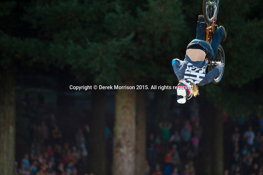 Local rider Kelly McGarry, frontflips during the Slopestyle event at the inaugural Crankworx Rotorua event held at Skyline Rotorua, Rotorua, New Zealand, March 25-29, 2015.