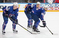 Nicolas Besch of France, Antoine Roussel of France and Stephane da Costa of France during the 2017 IIHF Men's World Championship group B Ice hockey match between National Teams of France and Belarus, on May 12, 2017 in AccorHotels Arena in Paris, France. Photo by Vid Ponikvar / Sportida