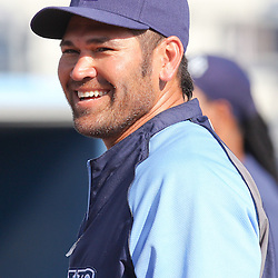 March 15, 2011; Port Charlotte, FL, USA; Tampa Bay Rays left fielder Johnny Damon (22) before a spring training exhibition game against the Florida Marlins at Charlotte Sports Park.   Mandatory Credit: Derick E. Hingle