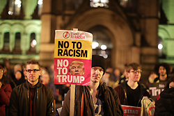 © Licensed to London News Pictures . 20/02/2017 . Manchester , UK . Protesters at a Stop Trump demonstration in Albert Square , central Manchester , to coincide with Parliament debating a petition calling for the government to cancel a State Visit by US President Donald Trump . Photo credit: Joel Goodman/LNP