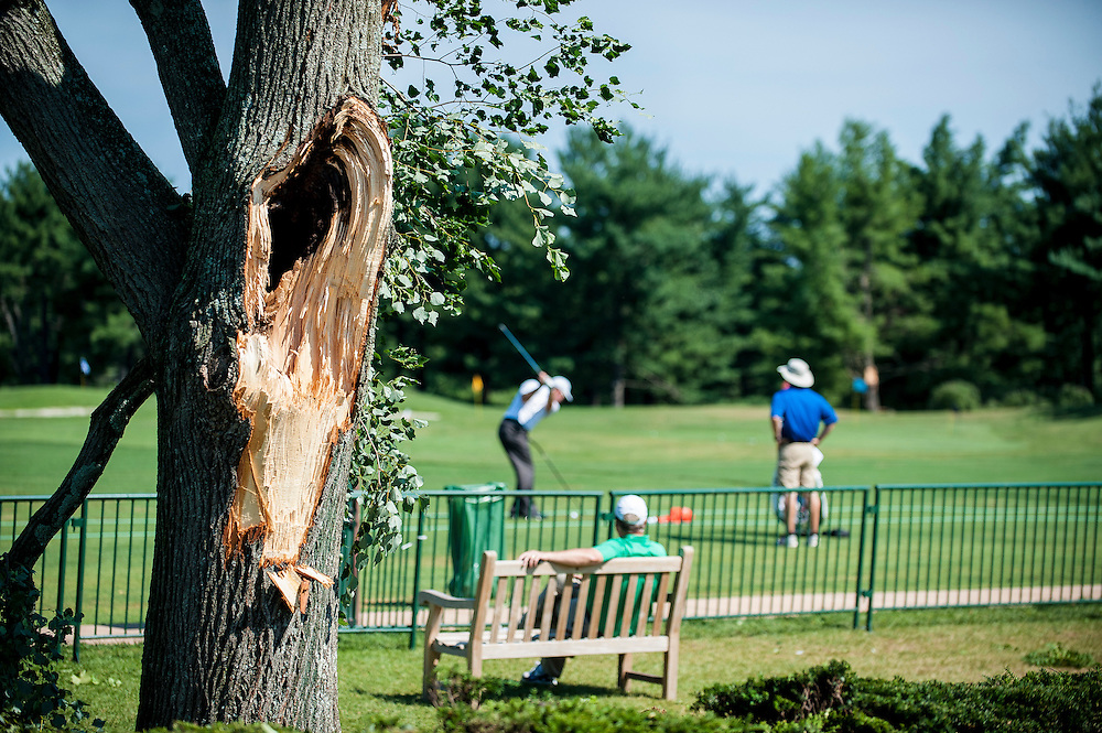 Play has been delayed at the AT&T National Golf Tournament at Congressional CC in Bethesda Maryland following course damage from severe storms that ripped through the area late Friday night.  Officials say even if the course is readied, fans will not be allowed on Saturday...The storm caused power outages and downed trees throughout the region.