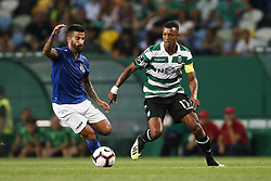 September 1, 2018 - Lisbon, Portugal - Nani of Sporting (L) vies for the ball with Tiago Silva of Feirense (L)  during Primeira Liga 2018/19 match between Sporting CP vs CD Feirense, in Lisbon, on September 1, 2018. (Credit Image: © Carlos Palma/NurPhoto/ZUMA Press)