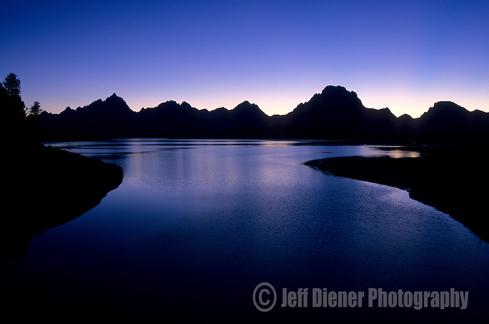 Jackson lake and the Tetons at dusk in Grand Teton National Park, Jackson Hole, Wyoming.