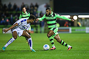 Forest Green Rovers Dan Wishart(17) takes on Tranmere Rovers Michael Ihiekwe(6) during the Vanarama National League match between Forest Green Rovers and Tranmere Rovers at the New Lawn, Forest Green, United Kingdom on 22 November 2016. Photo by Shane Healey.
