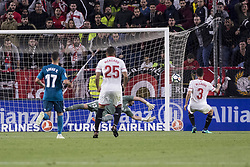 May 9, 2018 - Seville, Spain - MIGUEL LAYUN of Sevilla (R ) scores for 2-0 during the La Liga soccer match between Sevilla FC and Real Madrid at Sanchez Pizjuan Stadium (Credit Image: © Daniel Gonzalez Acuna via ZUMA Wire)
