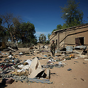 January 21, 2013 - Diabaly, Mali: A french army man checks the Mali military base in central Diabaly, for unexploded ordinance, a day after Mali government troops regain control of the city. Diabaly was under islamist militants control since the 14th of January.<br />