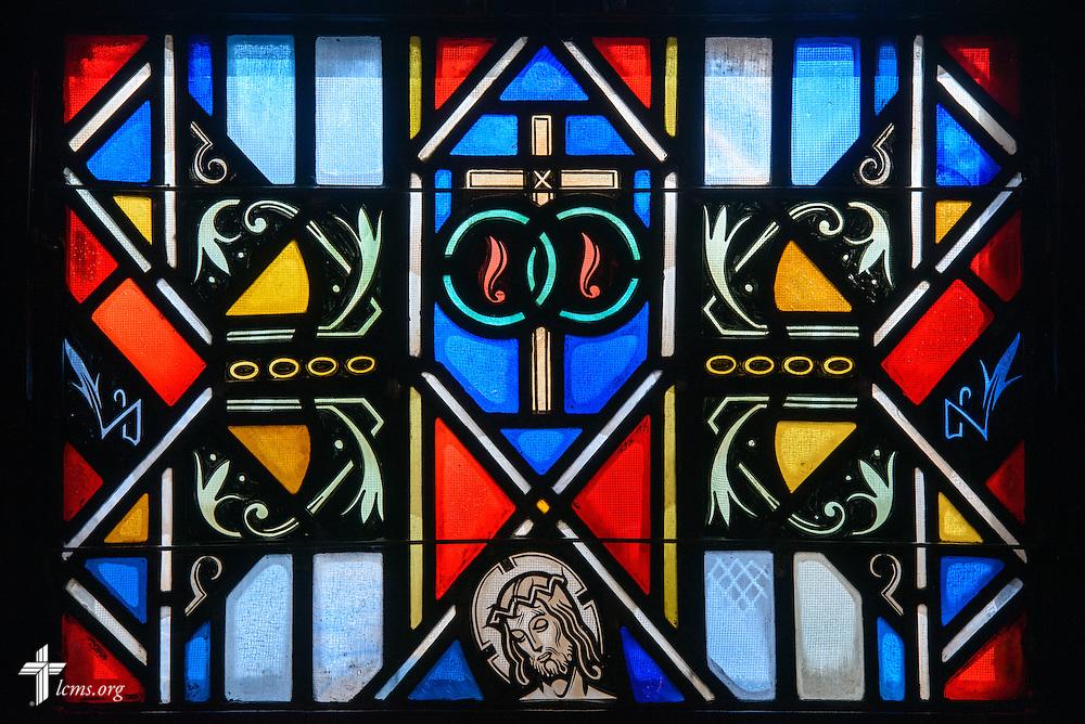 Stained glass at Luther Memorial Chapel depicts Jesus Christ on Friday, Jan. 29, 2016, in Shorewood, Wis. LCMS Communications/Erik M. Lunsford