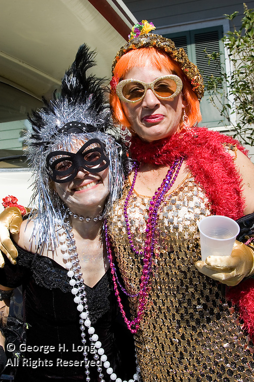 Judy and friend at Mardi Gras in the French Quarter and Faubourg Marigny of New Orleans