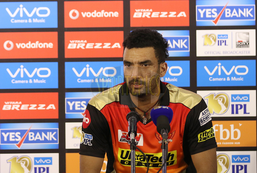 Bipul Sharma of the Sunrisers Hyderabad addressing media after the match 6 of the Vivo 2017 Indian Premier League between the Sunrisers Hyderabad and the Gujarat Lions held at the Rajiv Gandhi International Cricket Stadium in Hyderabad, India on the 9th April 2017<br /> <br /> Photo by Faheem Hussain - IPL - Sportzpics