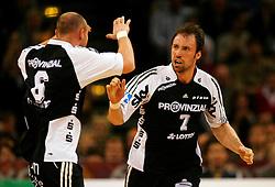 Handball: Lufthansa Final Four, DHB Pokal, Finale, HSV Handball - THW Kiel,  Henrik Lundstroem and Vid Kavticnik celebrate (Kiel) victory of Lufthansa Final Four, ..copyright: SPORTIDA / HOCH ZWEI / Malte Christians